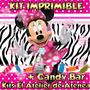 Kit Imprimible Minnie Rosa Cebra Candy Bar Invitacones 2x1