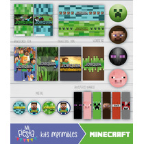 Kit Imprimible Candy Bar Minecraft Personalizado