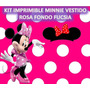 Kit Imprimible Minnie Vestido Rosa Fondo Fucsia