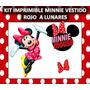 Kit Imprimible Minnie Vestido Rojo A Lunares