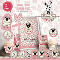 Kit Imprimible Minnie Shabby Chic Rosa
