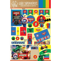 Kit Imprimible Lego Superheroes Hulk Batman Candy Bar Deco!