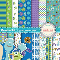 Kit Imprimible Pack Fondos Monsters University Clipart
