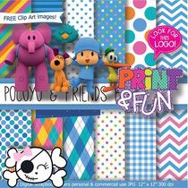 Kit Imprimible Pack Fondos Pocoyo Clipart