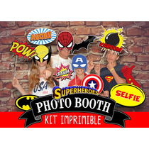 Kit Imprimible Photo Booth Super Heroes - Props Para Fiestas