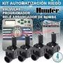 Kit Automatización Programador Riego Hunter Xcore 4 Zonas