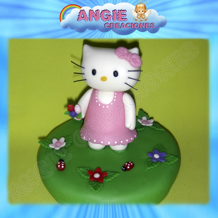 Kitty Con Base En Porcelana Fria Adorno Torta