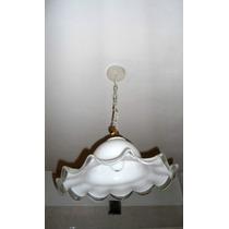 Elegante Lampara Colgante Campana Crist. Murano Blanca 0485x