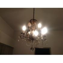 Lámpara Antigua Colgante Con Caireles Seis Luces