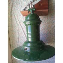 Original Antigua Lámpara Galponera Enlozada Con Plafón Cable
