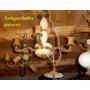 Araña De Bronce Marmòl Alabastro 4 Luces Hay + Paraver