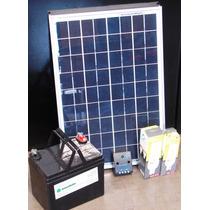 Kit Solar Para Iluminación Con Panel Batería Y Lamparas 12v