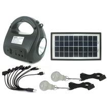 Kit Solar Portatil Panel Lamparas Linterna Mp3 Fm Carga Celu