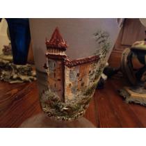 Antigua Lámpara Vidrio Pintado Porcelana Kerosene Quinque