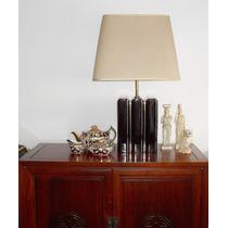 Antigua Lámpara De Porcelana, Pantalla Rectangular Dos Luces