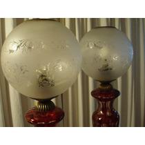 Par De Lámparas Estilo- Cristal Rubí Tallado A Mano C/bronce