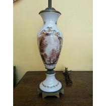Hermosa Y Antigua Lámpara Velador De Mesa Porcelana Y Bronce