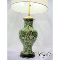 Espectacular Lámpara En Cloisonné Gran Tamaño Impecable 73cm