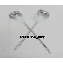 Lapicera Birome Corazon Plateado Con Detalle Pluma X 2