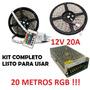 Kit Tira Led Rgb 20 Metros 5050 Controladora Fuente 12v 20a