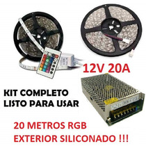 Kit Tira Led Rgb 20 Mts 5050 Exterior Cont. Y Fuente 12v 20a