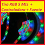 Tira Led Multicolor Rgb Interior 5mts + Controlador + Fuente