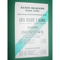 Boleta Elecciones Banco Bragado Lista Celeste Y Blanca 1983
