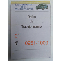 10 Librito Talonario Control Auto Lavadero Numerado