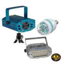 Tri Combo Luces Dj Laser Multipunto + Flash + Bola Giratoria