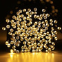 Luces De Navidad A Energía Solar 100 Leds Blanco Cálido 10 M