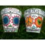 Macetas Pintadas - Diseño - Mexican Skullies N14
