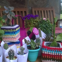 Maceta De Cemento Personalizada Con Crochet, Ideal P/ Cactus