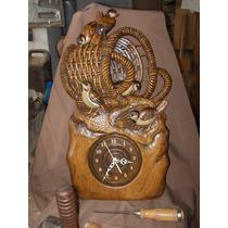 Reloj Artesanal Tallado A Mano Con Gorriones