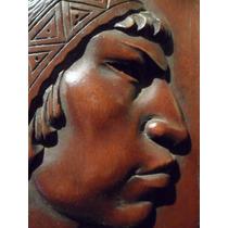Cuadro Talla En Madera Relieve Aborigen Indio