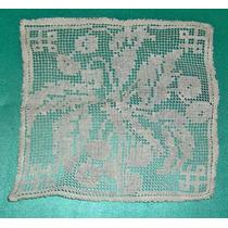 Antiguo Mantelito Carpeta O Aplique De Macramé 20 X 20 Cm Ex