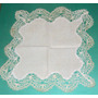 Antigua Carpetita Mantel Bordada A Mano Macramé Crochet Vea