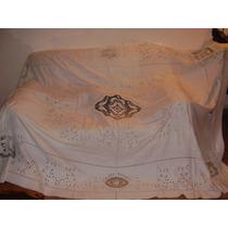 Antiguo Mantel Bordado Y Calado