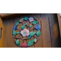 Carpeta Calada Redonda Floral,muy Vistosa!!