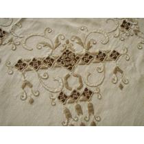 Mantel Antiguo Rectangular Bordado A Mano Con 7 Servilletas