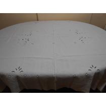 Mantel Rectangular Granite Blanco Bordado Calado 2,20x1,50