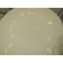 Antiguo Mantel De Hilo Con Aplicaciones En Raso 2,40 X 1,72