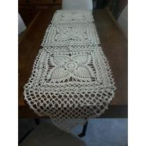 Camino De Mesa Tejido Al Crochet,hilo Rustico,color Crudo.