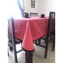 Mantel Moderno Rojo Con Lunares Blancos 2.50x 1.50 Exclusivo