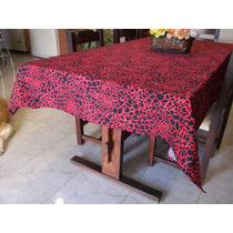 Mantel Antimancha Animal Print Rojo 1.90x1.40m Exclusivo