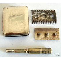 Gillette Afeitadora De Viaje En Metal Plateado Completa Caja