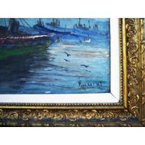 Historical*- Luminoso Óleo Marina Firma Mullins-90x40 -envío