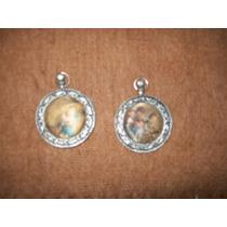 Lote De 2 Camafeos Circulares En Metal Y Seda