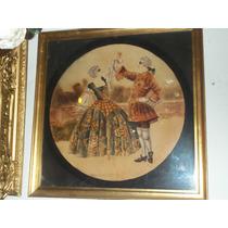 Antiguo Marco Dorado Con Pintura Escena Barroca Firmado