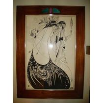 Cuadro Con Lámina Antigua Firmada Art Nouveau.