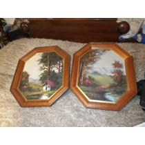 2 Cuadros Octogonales Pintados Al Oleo , A $1899 El Juego !